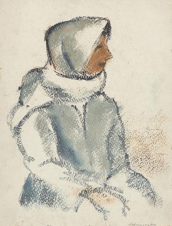 Zolo Palugyay - Sediace dievča v bielej šatke z profilu