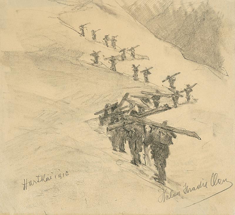 Elemír Halász-Hradil – Doprava dosiek a výmena bojových skupín, 1916,  Slovenská národná galéria
