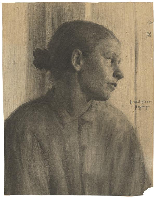 Elemír Halász-Hradil – Štúdia ženskej hlavy z profilu