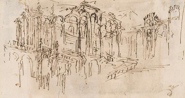 Francesco Guardi – Skica palácového priečelia
