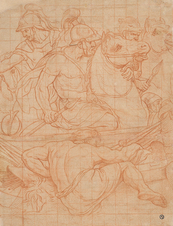 Taliansky maliar z prelomu 15. - 16. storočia - Fragment kartónu k obrazu Konstanciona,bitka proti Maxentiovi