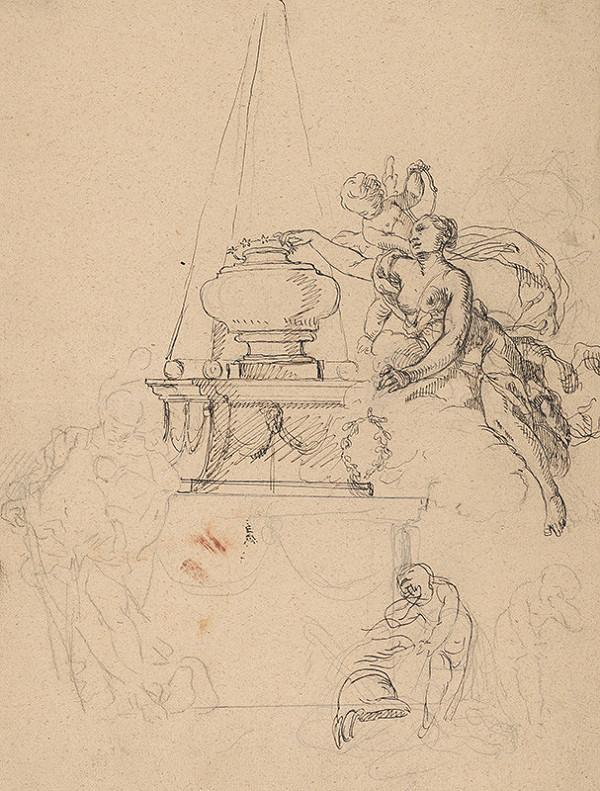 Franz Anton Maulbertsch - Štúdia alegorického výjavu pre náhrobok