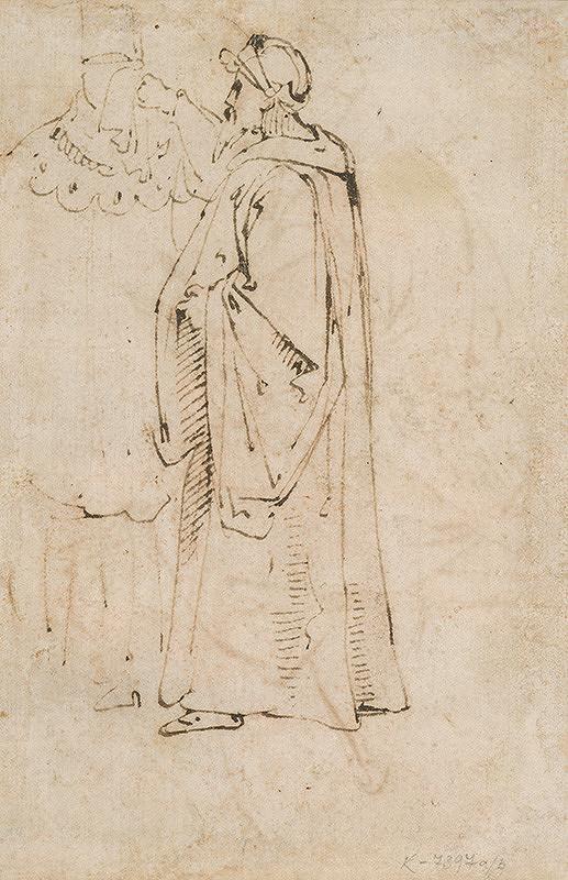 Taliansky majster okolo 1500 - Štúdia postavy v plášti