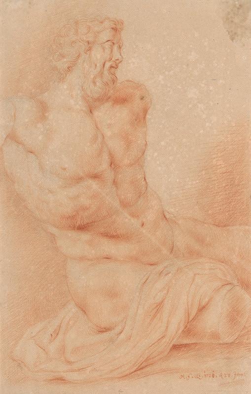 Stredoeurópsky majster z 1. polovice 18. storočia - Štúdia muža s drapériou podľa plastického modelu