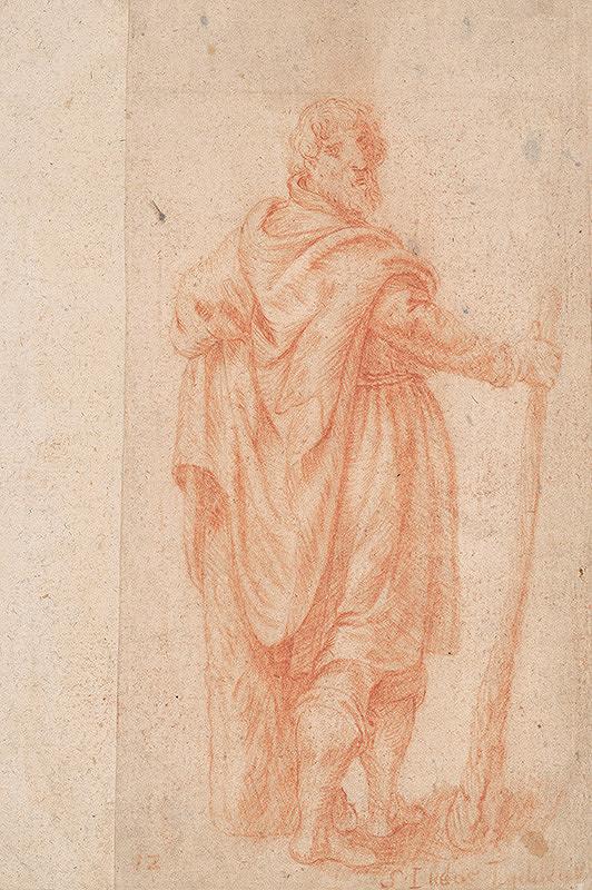 Stredoeurópsky majster z 18. storočia – Štúdia muža s kyjakom
