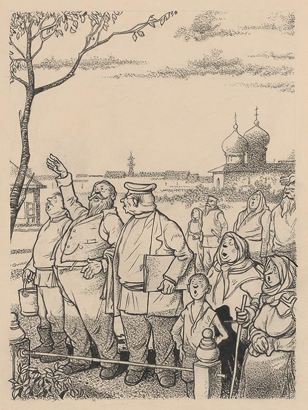 Viliam Weisskopf - Skupina vyjavene pozerajúcich dedinčanov