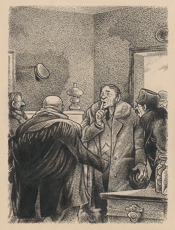 Viliam Weisskopf – Skupina mužov v miestnosti ticho gestikulujúcich