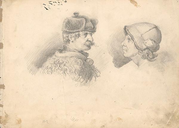 František Klimkovič - Študijná kresba dvoch mužských hláv v rôznych kožušinových čiapkach
