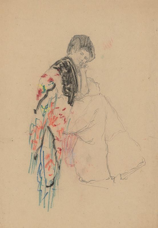Ivan Žabota – Sediaca žena s kvetovaným šálom