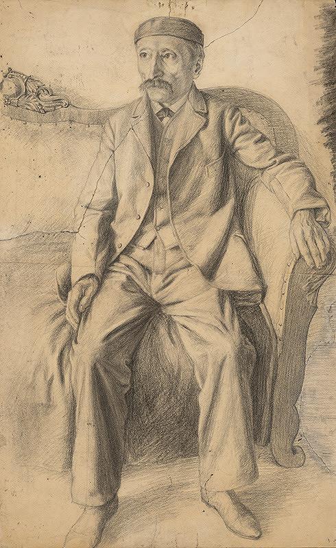 Ivan Žabota - Štúdia sediaceho muža na pohovke