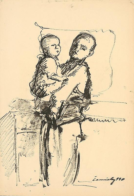 Ladislav Čemický - Chlapec s dieťaťom na rukách