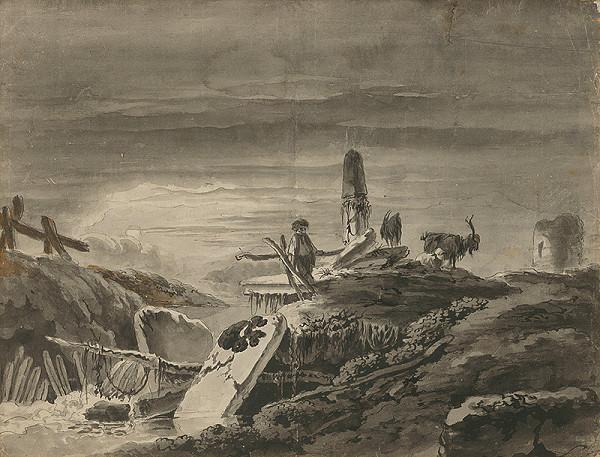 Stredoeurópsky maliar z 18. storočia - Pastierik pri zrúcaninách