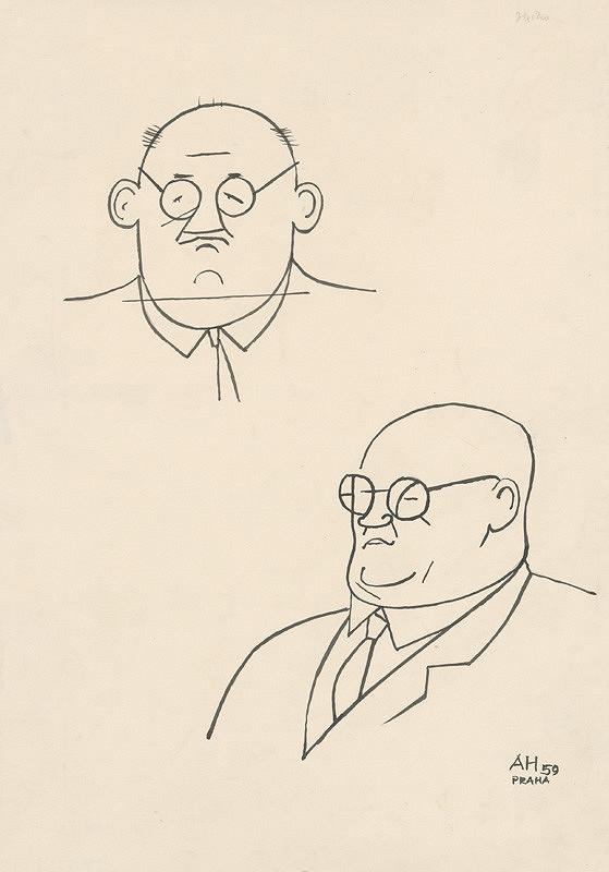 Adolf Hoffmeister - František Hečko  karikatúrna kresba