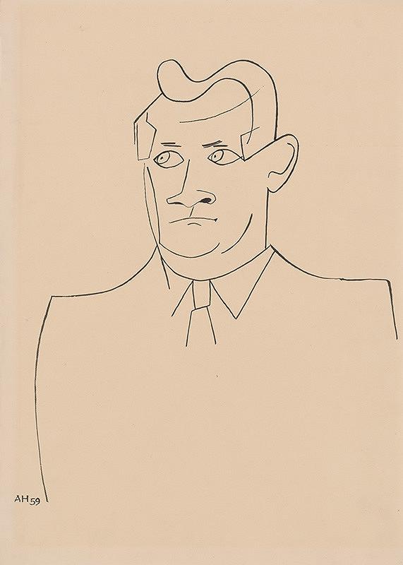 Adolf Hoffmeister - Karikatúrna kresba Jozef Lenárt