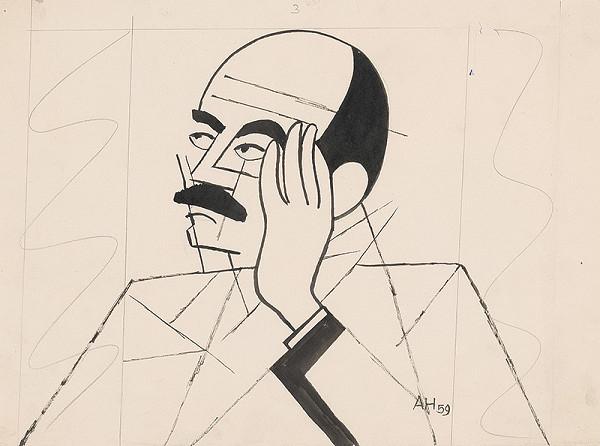 Adolf Hoffmeister - Karikatúrna kresba Jozef Kostka