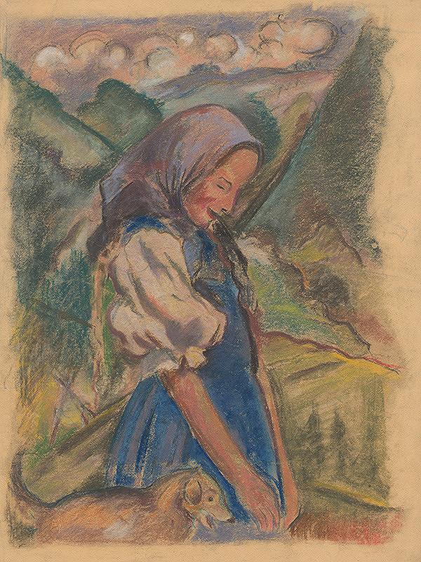 Arnold Peter Weisz-Kubínčan - Dievča so psom v krajine