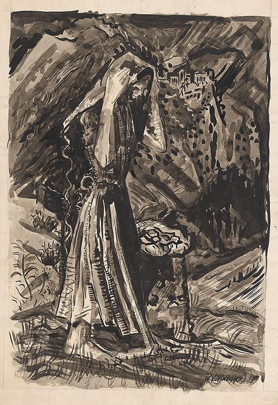 Arnold Peter Weisz-Kubínčan - Stojaca žena pri vreci zemiakov