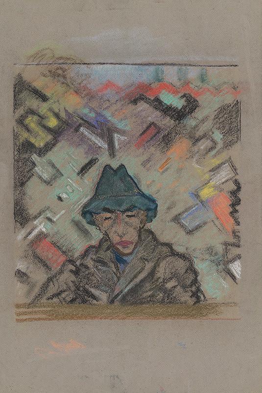 Arnold Peter Weisz-Kubínčan – Poprsie muža v klobúku s dekoratívnym pozadím