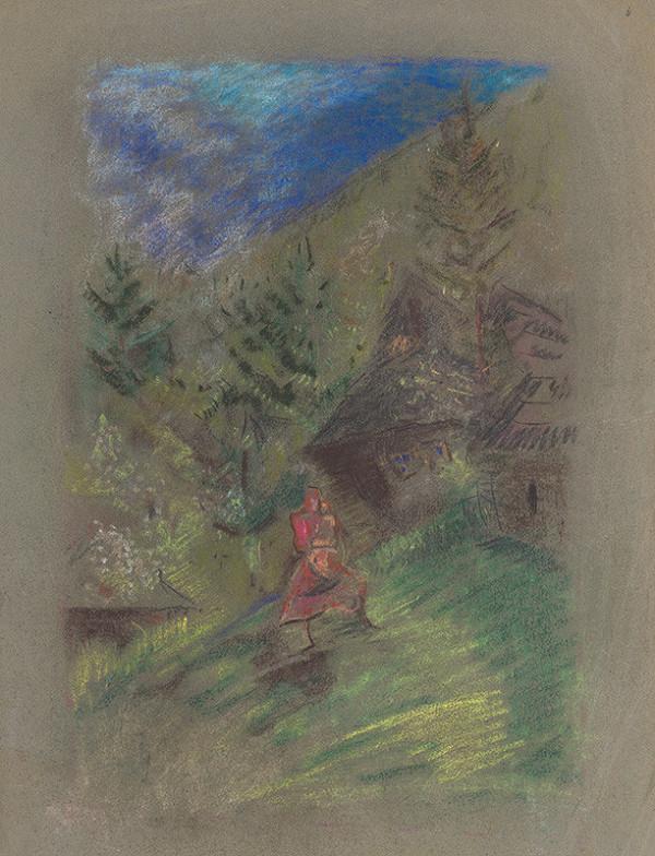 Arnold Peter Weisz-Kubínčan – Žena s dieťaťom pred chalupami