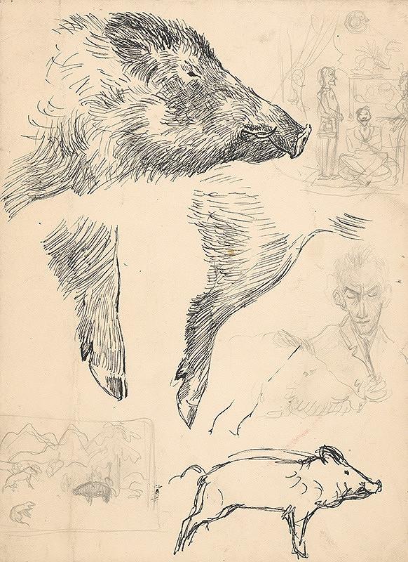 Arnold Peter Weisz-Kubínčan - Štúdie diviaka a figurálne náčrty
