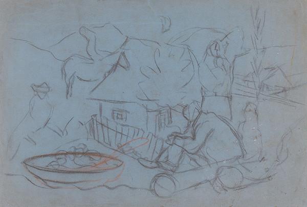 Arnold Peter Weisz-Kubínčan - Náčrt dedinského motívu