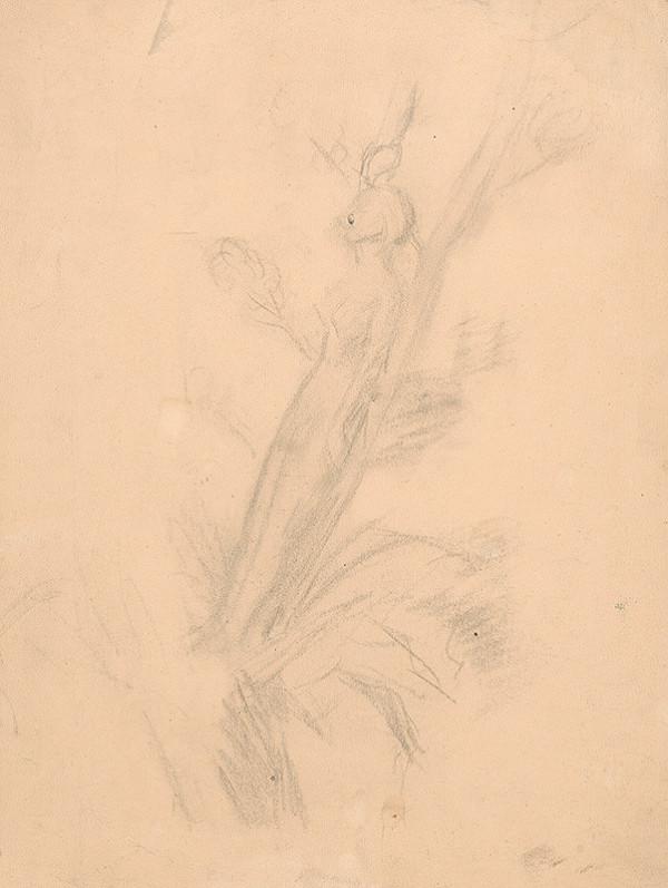 Arnold Peter Weisz-Kubínčan - Náčrt ženského aktu opierajúceho sa o strom