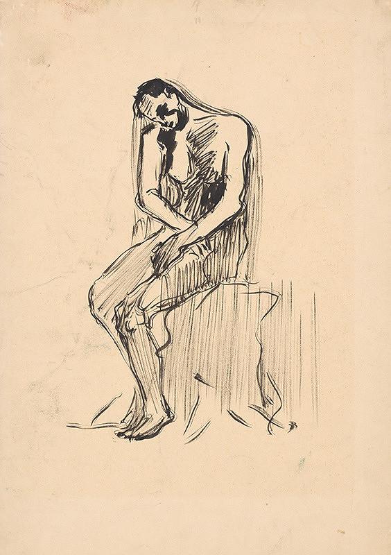 Arnold Peter Weisz-Kubínčan - Náčrt sediaceho mužského aktu