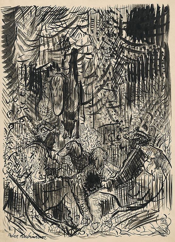 Arnold Peter Weisz-Kubínčan - Poľovníci s ulovenou líškou