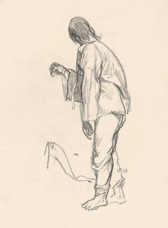 Jaroslav Vodrážka - Kresba stojaceho muža zboku
