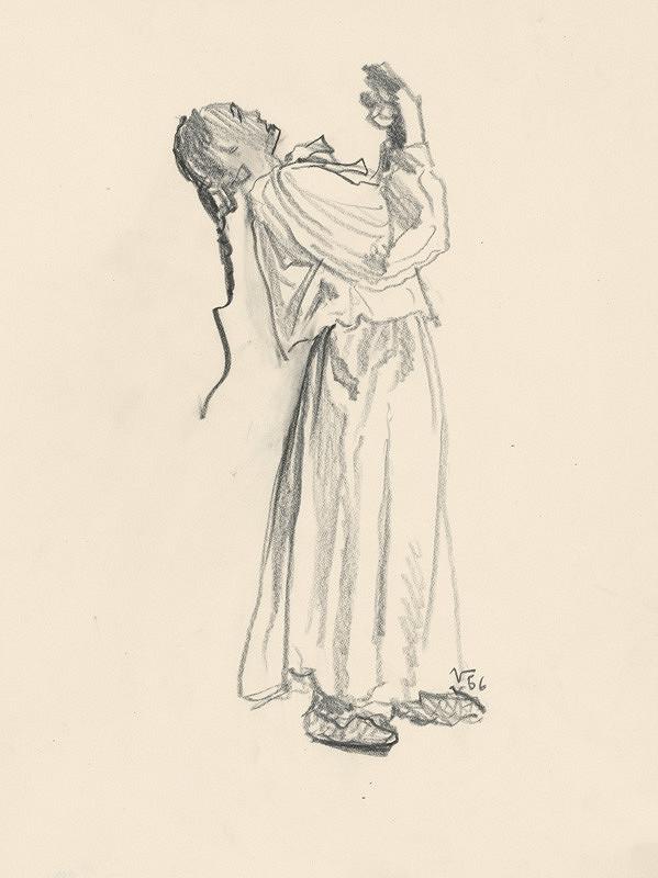 Jaroslav Vodrážka - Kresba ženy s vrkočom