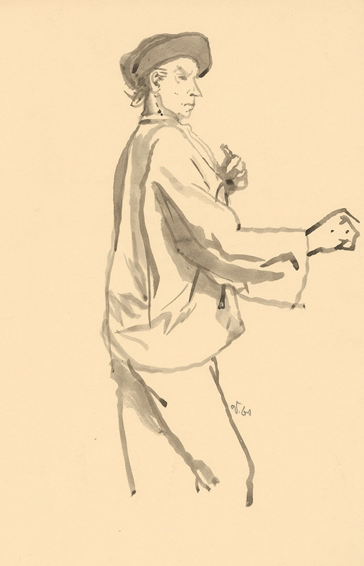Jaroslav Vodrážka - Kresba sedliaka z profilu