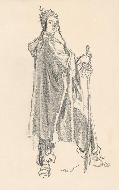 Jaroslav Vodrážka – Muž s palicou v dlhom plášti