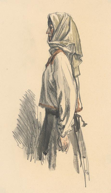 Jaroslav Vodrážka - Dedinčanka v šatke z profilu