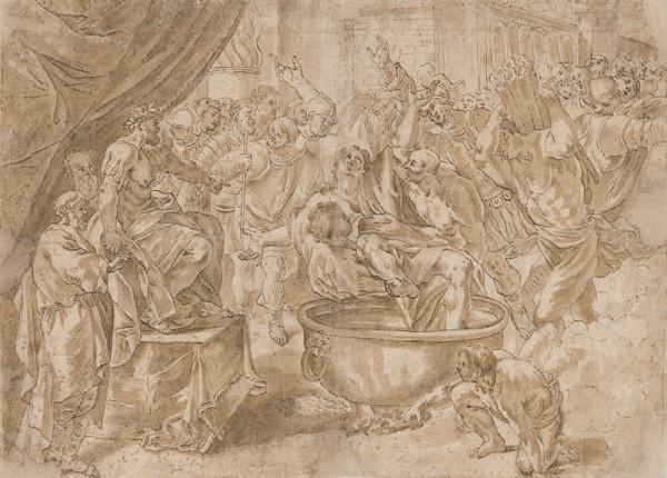 Taliansky majster zo 16. storočia - Výjav z mučenia sv.Jána na Patme
