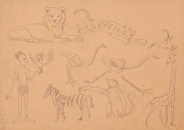 Arnold Peter Weisz-Kubínčan - Náčrty afrických zvierat a černoška