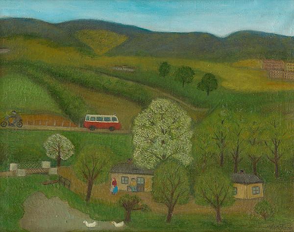 Zuzana Virághová - Krajina s autobusom