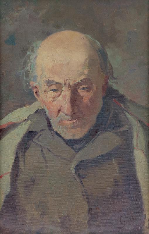 Gustáv Mallý - Štúdia hlavy kostolného žobráka