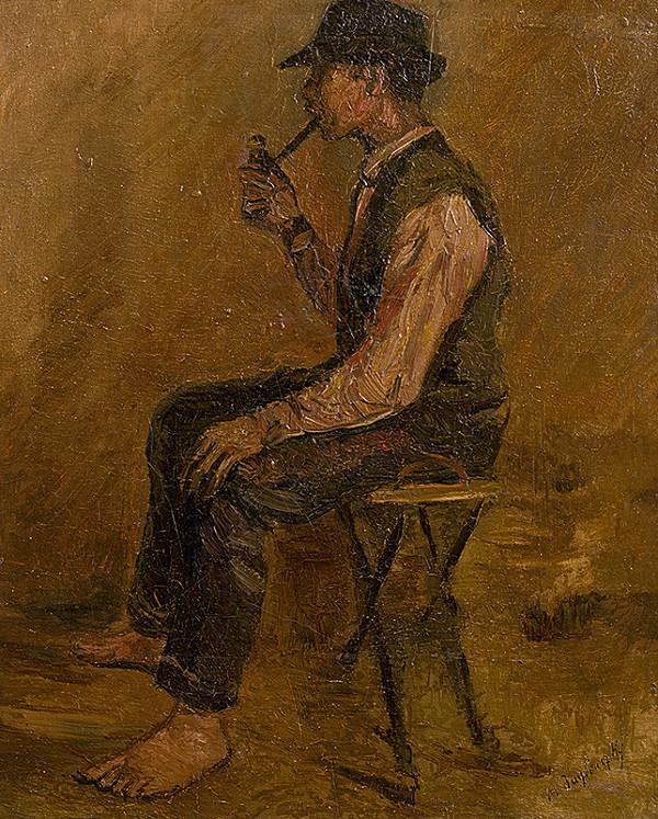 Ladislav Mednyánszky – Štúdia sediaceho muža s fajkou