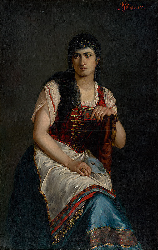 Ľudovít Pitthordt - Podobizeň sediacej ženy so škraboškou