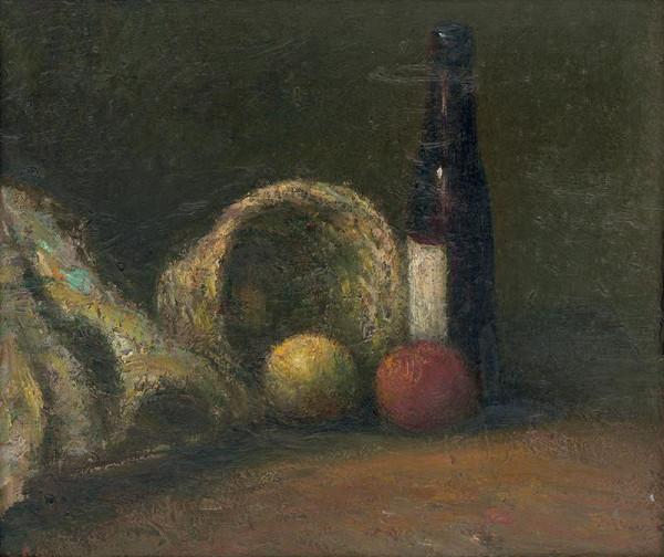 Ján Mudroch – Zátišie s košíkom a s fľašou