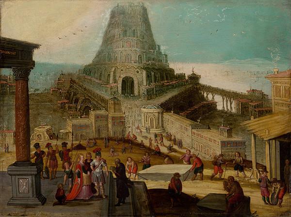 Nizozemský maliar zo začiatku 17. storočia, Louis de Caulery - Stavba babylónskej veže