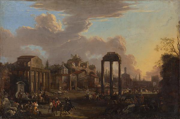 Nemecký maliar z 18. storočia – Campo Vaccino v Ríme