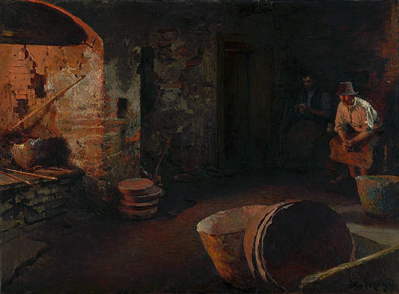 Dominik Skutecký – Odpočívajúci kotliari. Ticho, 1913, Slovenská národná galéria