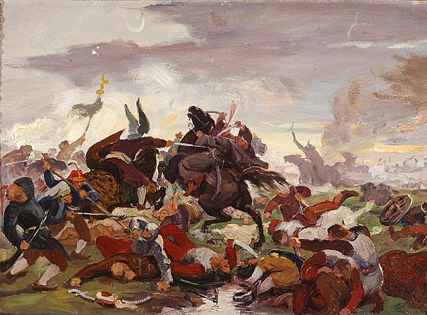 Jozef Hanula - Štúdia k obrazu Tomoryho smrť v bitke pri Moháči