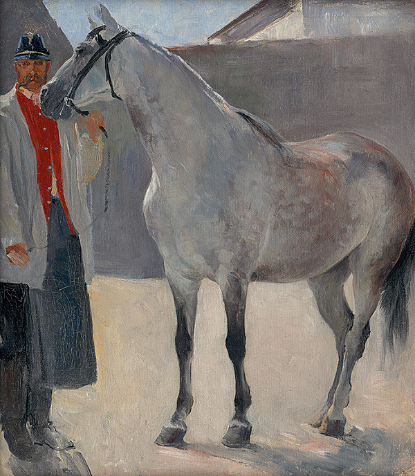 Jozef Hanula – Štúdia sivého koňa s pohoničom