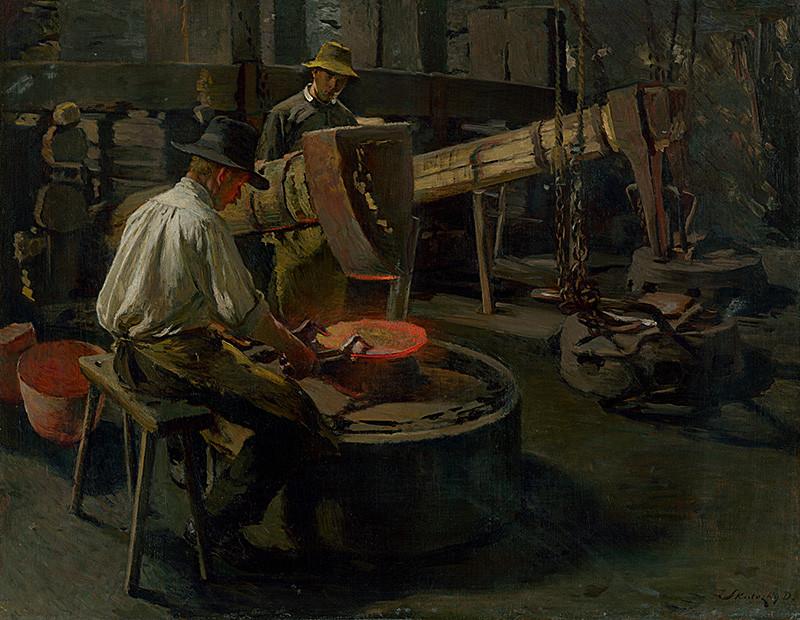 Dominik Skutecký – Vykúvanie kotlov, okolo 1908, Slovenská národná galéria