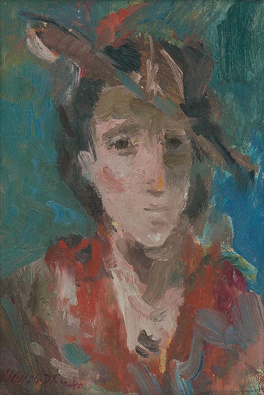Bedrich Hoffstädter - Štúdia hlavy ženy v klobúku