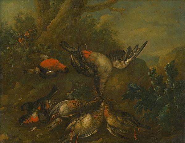 Philip Ferdinand Hamilton - Zátišie s ulovenými vtákmi