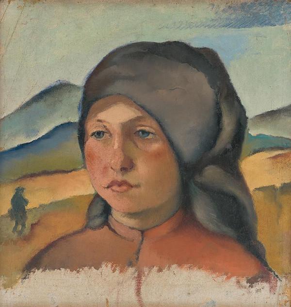Vladimír Gessay – Štúdia dievčenskej hlavy v šedej šatke
