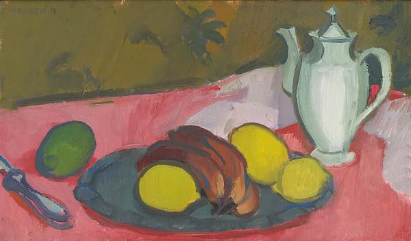 Viera Kraicová – Zátišie s ovocím a kanvicou